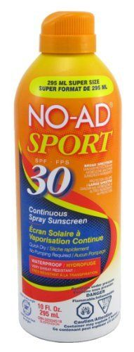 No-Ad SPF#30 Continuous Spray Sport 10 oz. Super-Size (3-Pack) with Free Nail File by No-Ad. $35.99
