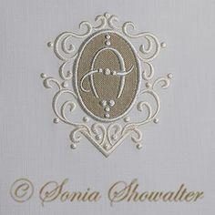 Whitework Linen Alphabet- A: Sonia Showalter