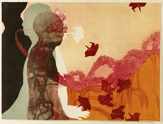 "Rina Yoon, ""Conversation Within"", intaglio collagraph print"