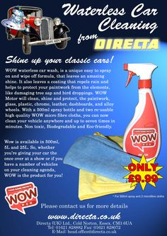 Waterless Car Cleaning from WOW. Have a look at all our WOW cleaning products from www.directa.co.uk
