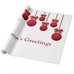 Christmas Red Christmas Balls with Ribbon Wrapping Paper - red gifts color style cyo diy personalize unique