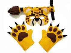 Children's Safari Animal CHEETAH Felt Mask Tail von MagicalAttic