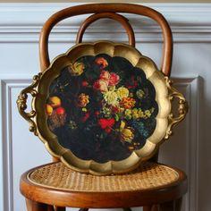 Vintage Rose Italian Serving Tray Floral Gold Red Metallic Black Botanicals  Italy Decorative Florentine Kitchen Home Decor Anthropologie 65bf2b69d205