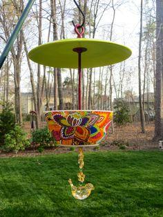 Covered Hanging Bird Feeder Retro Handmade by EllensClayCreations