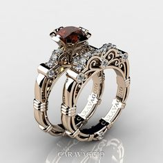 Luxurious, elegant and classy, Art Masters Caravaggio Rose Gold Ct Orange and Pink Sapphire Engagement Ring Wedding Band Set by Caravaggio Jewelry is sure to please the most discriminating feminine taste. Bridal Rings, Wedding Jewelry, Wedding Rings, Wedding Art, Gold Wedding, Trendy Wedding, Ruby Wedding, Elegant Wedding, Perfect Wedding