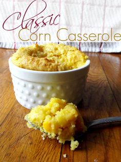 Classic Corn Casserole~2 Boxes Jiffy Cornbread Mix, 8oz cream cheese softened, Stick of butter, Can of Cream Corn, Can of Regular Corn (not drained), Place the cream cheese and butter in a microwave safe bowl and microwave 1 minute or until butter is melted, then whisk. Add in the cornbread mix, then Stir in the 2 cans of undrained corn. Greased 9x13, 45 mins@350.