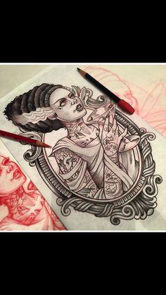 Tattoo pinup bride of Frankenstein portrait frame