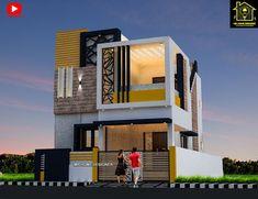 Best 30 Front Elevation designs For 2 Floor House Narrow House Designs, Modern Exterior House Designs, Black House Exterior, Unique House Design, House Front Design, Residential Building Design, Home Building Design, 2 Storey House Design, Bungalow House Design