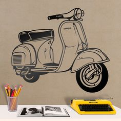 Motos Vespa, Vespa Scooters, Vintage Vespa, Object Drawing, Line Drawing, Vespa Vector, Vespa Wedding, Vespa Illustration, Scooter Drawing