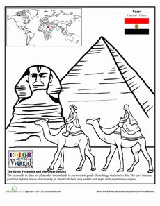 Second Grade Fourth Grade Places Geography Worksheets: Egypt Coloring Page Ancient Egypt, Ancient History, Geography Worksheets, Around The World Theme, Little Passports, American History Lessons, World Thinking Day, World Geography, Egyptian Art