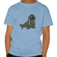Funny Walrus Cartoon T-shirt #walrus #shirt #funny #animals And www.zazzle.com/inspirationrocks*