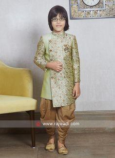 Charming Pista Green Indo Western For Kids. Ethnic Fashion, Boy Fashion, Fashion Outfits, Sherwani, Kids Wear, Mens Suits, Kids Boys, Party Dresses, Desi
