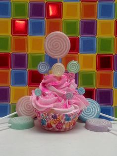 candy forest   Candy Land Lollipop Forest Inspired Fake Cupcake Photo Prop, with ...