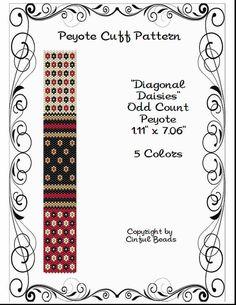 Peyote Bracelet Pattern, Mini Flower Design using Miyuki 11/0 Delica beads