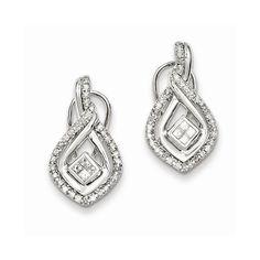 Sterling Silver Rhodium Plated Diamond Omega Back Earrings