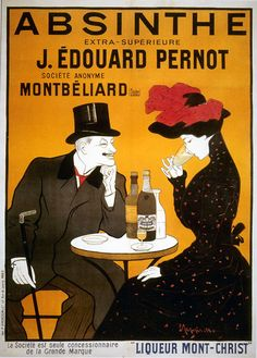 Leonetto Cappiello poster features a beautiful woman in black dress sipping absinthe sitting at the table with a gentleman. The beautiful Vintage Poster Reproduction is perfect for an office or living room. Cappiello Poster Absinthe J. Vintage French Posters, Vintage Advertising Posters, Vintage Travel Posters, Vintage Advertisements, Vintage Ads, Vintage Prints, French Vintage, Retro Posters, Art Posters