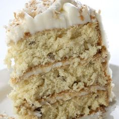 Hands-down the best Italian Cream Cake Recipe!  Cut back on the powdered sugar in the frosting, though. :)