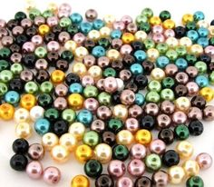 Glass Pearls Round Beads 6mm Forest Colors Mix 200pcs (gprd06m-frstl) #BeadsDirectUSA #Glasspearl $3.65