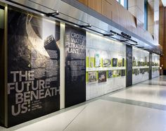 The future beneath us exhibition and print materials - fonts in use Environmental Graphic Design, Environmental Graphics, Exhibition Display, Exhibition Space, Wall Design, Layout Design, Office Wall Graphics, Window Graphics, Timeline Design