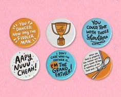 """Bachelor Mother button set featuring illustrations and quotes from the classic Ginger Rogers and David Niven movie, such as """"You could, too, with those shoulders"""" and """"Aapy Nuuu Cheah!"""" Ginger Rogers, All Design, Get One, Coupon Codes, Helpful Hints, David Niven, Buttons, Movie, Ink"""