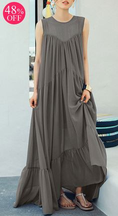 Patchwork Pure Color Pleated Sleeveless Vintage Maxi Dresses. #party #dresses #maxi