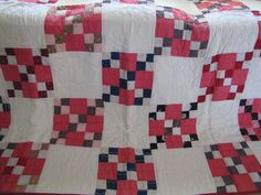 #antique Rare Puss In the Corner Quilt Stunning Shirting Fabrics Unused Apr Latter 1800's please retweet