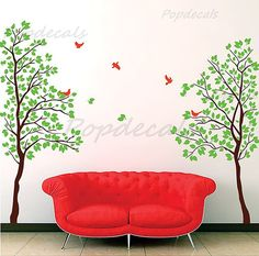 """Bedroom Tree Wall Decals Living Room Trees Decal Flying Birds Decal- Twin Tree(83"""" H) -Vinyl Wall art decals graphic for home decor"""