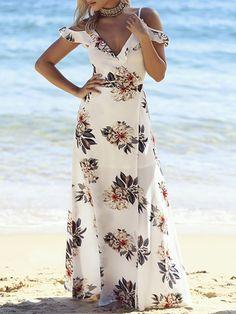 Low Cut Floral Print Frilled Maxi Slip Dress