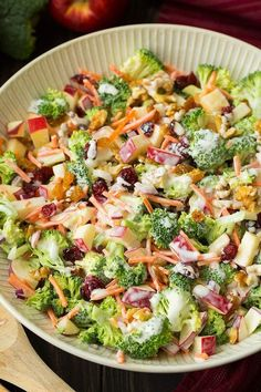 A delicious salad made with fresh broccoli gala apples carrots dried cranberries red onion walnuts and a creamy sweet and tangy dressing. Vegetarian Recipes, Cooking Recipes, Healthy Recipes, Cooking Ribs, Cooking Bacon, Asian Recipes, Healthy Foods, Apple Salad Recipes, Broccoli Slaw Recipes