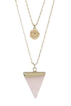 Rose Quartz & Desert Rose 18k Dipped Double Strand Layering Necklace