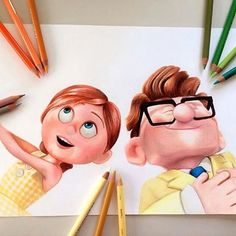 Ellie & Carl (Drawing by C__Yan Pencil Art Drawings, Realistic Drawings, Amazing Drawings, Colorful Drawings, Cartoon Drawings, Cartoon Art, Cute Disney Drawings, Disney Sketches, Cute Drawings