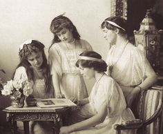 Spring 1914 ~ The 4 daughters of the last Tsar of Russia. L-R (standing): Maria, Anastasia, Olga. Sitting: Tatiana in profile.