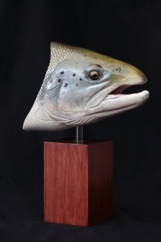 "Atlantic Salmon Bust Carved from Basswood Cherrywood base  13.5 "" High X  10""  large  Acrylic painting Burned scales Carved mouth interior  SOLD"