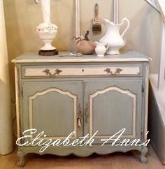 French Provencal server painted with Paris Sky a color I mixed using Shabby Paints.  #shabbypaints #elizabethannsparissky