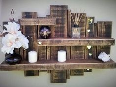 Use Pallet Wood Projects to Create Unique Home Decor Items Wooden Pallet Shelves, Wooden Pallet Projects, Pallet Crafts, Wood Pallets, Wood Crafts, Diy Projects, Project Ideas, Pallet Wood, Wood Shelf