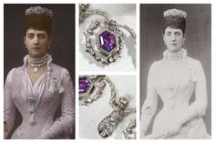 The Queen Alexandra Amethyst Tiara and Necklace. Danish-born Alexandra was photographed in this diamond and amethyst tiara once in 1889, while still Princess of Wales. The tiara was a gift to the princess from her brother-in-law, Tsar Alexander III. (He was married to Alexandra's sister Dagmar, known in Russia as Marie Feodorovna.) The piece featured seven large oval-shaped amethysts set in diamonds.