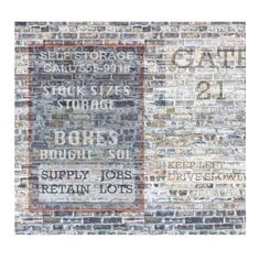 Vintage Brick and Sign Wall Mural ($73) ❤ liked on Polyvore featuring home, home decor, wall art, wall home decor, wall signs and wall murals