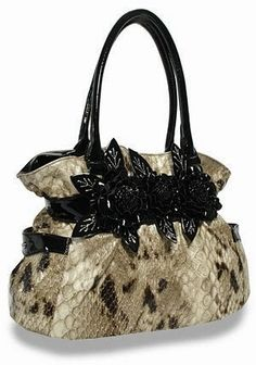 4f35c047c347 Handbag Snakeskin Textured Flower Accented Belted Tote Cheap Designer Purses