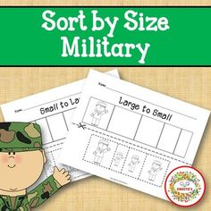 Sort by Size Activity Sheets - Color, Cut, and Paste - Veteran's Day Military