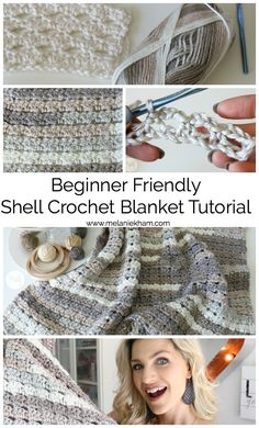 Shell Crochet Blanket Tutorial - Beginner Friendly | Crochet Shell Blanket, Crochet Blanket Tutorial, Beginner Crochet Tutorial, Crochet Blankets, Crochet Stitches For Beginners, Crochet Stitches Patterns, Crochet Designs, Crochet Ideas, Crochet Projects