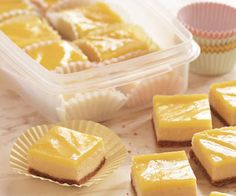Lemon Cheesecake Squares Recipe. These sweet-and-tangy squares are what you get when you cross lemon bars with cheesecake. The bars need to set up in the refrigerator, so allow at least 5 hours of chilling time before you serve (or pack) them. You can substitute lower-fat cream cheese for regular, if you like. The cheesecake itself will be slightly less creamy but still fabulous.