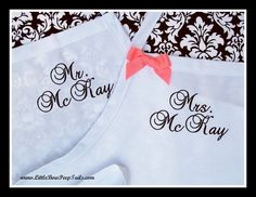 Mr and Mrs Last Name Wedding Aprons Set  Bridal by bowpeepaprons, $49.90