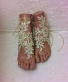 Free ship Champagne  lace sandals wedding anklet by GlovesByJana