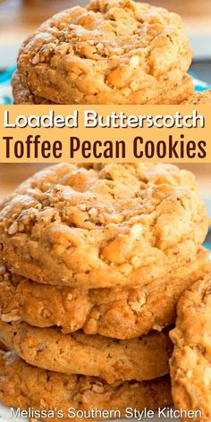 Loaded Butterscotch Toffee Pecan Cookies Biscuits Au Caramel, Butterscotch Cookies, Pecan Cookies, Candy Cookies, Yummy Cookies, Cupcake Cookies, Chip Cookies, Cupcakes, Bar Cookies