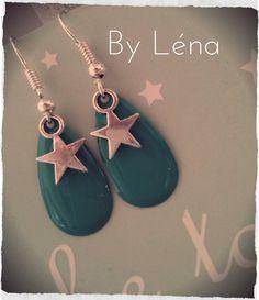 BO argentées étoile argentée sur goutte émaillée vert émeraude