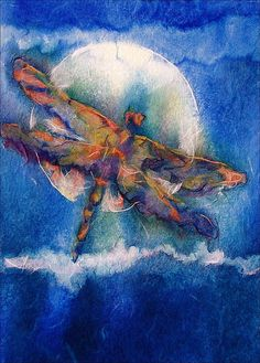 Dragonfly Art Print Moon Watercolor Painting by AlisaPaints