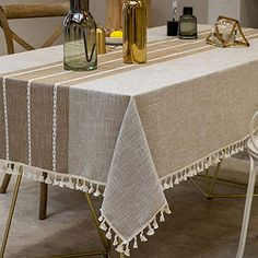 TEWENE Tablecloth, Rectangle Table Cloth Cotton Linen Wrinkle Free Anti-Fading Embroidery Tablecloths Washable Dust-Proof for Tabletop Decoration (Rectangle/Oblong, Seats, Light Coffee): Parisian Kitchen. [Tips]: Please kindly measure your t Tablecloth Sizes, Linen Tablecloth, Round Tablecloth, Table Linens, Parisian Kitchen, Mexican Style Kitchens, Rectangle Table, Round Tables, Kitchen Dinning