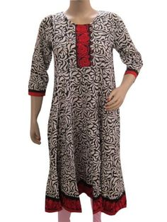 Womens Indian Kurti, Anarkali Cotton Tunic Top India Clothing, Black White Floral Embroidered Small Size Mogul Interior. $34.99