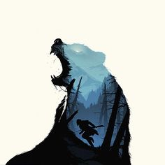 Papers.co wallpapers - ar35-revenant-dicaprio-poster-film-art-bear - http://papers.co/ar35-revenant-dicaprio-poster-film-art-bear/ - animal, film, illustration