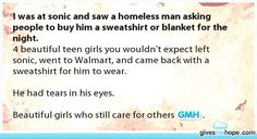 If they ask for a sweat shirt or blanket give it to them!